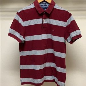 🌷Tommy Hilfiger Classic Maroon Gray Striped Polo